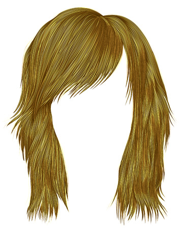 A trendy woman hair in bright yellow color,   medium length beauty style realistic 3d .