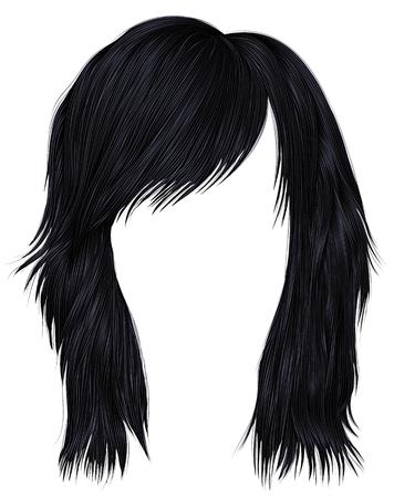 trendy woman hairs brunette black color,  medium length beauty style realistic 3d . Illustration