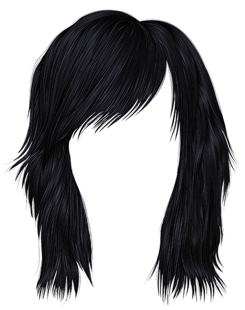 trendy woman hairs brunette black color,  medium length beauty style realistic 3d .