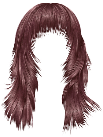 Trendy woman long hairs pink copper colors beauty fashion realistic 3d Illustration