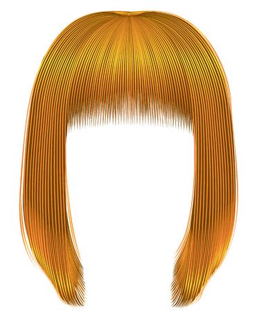 Capelli alla moda di colori giallo acceso kare frangia bellezza moda