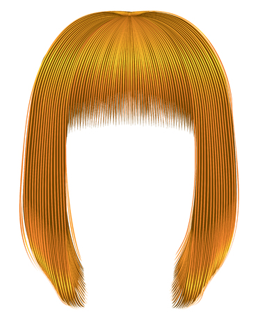 Trendy hairs bright yellow colors kare fringe beauty fashion