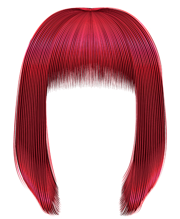 Trendy hairs red colors kare fringe beauty fashion Illusztráció