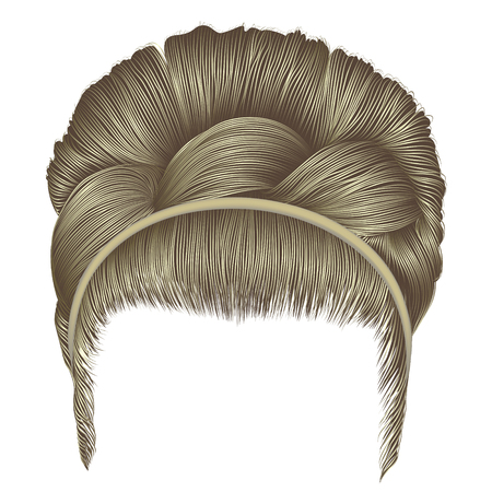 Babette of hairs with pigtail blond colors trendy women fashion beauty style realistic 3D retro hairstyle Illustration