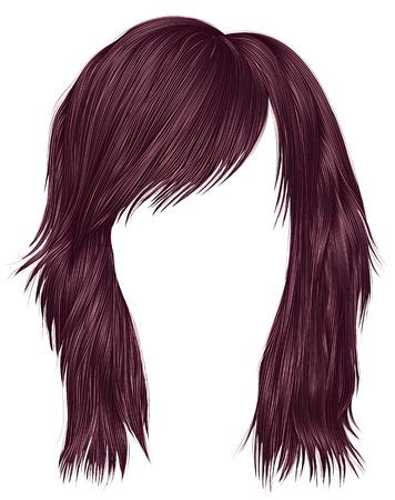 Trendy woman hairs Ñ�opper pink color medium length beauty style realistic 3d Ilustração