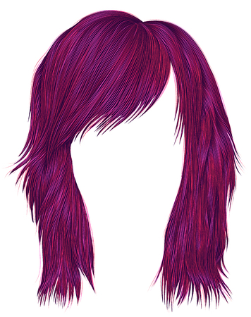 Trendy woman hairs bright pink color medium length beauty style realistic 3d Illustration