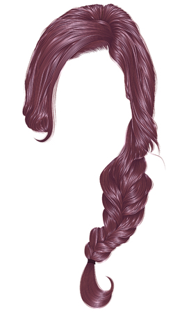 Trendy women hairs copper pink color, fashion beauty style. Illustration