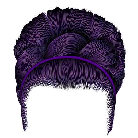 Babette of hairs with pigtail purple colors. Trendy women fashion beauty style.