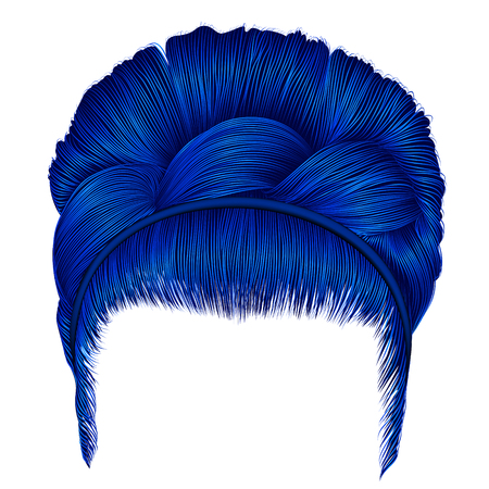 Babette of hairs with pigtail dark blue colors. Trendy women fashion beauty style.