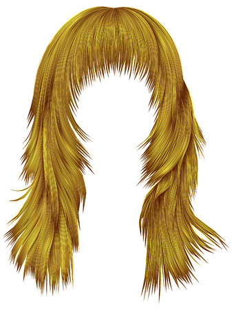 Trendy woman long hairs bright yellow colors, beauty fashion.