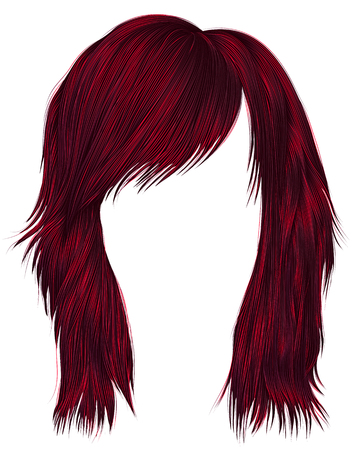Trendy woman hairs red color, medium length, beauty style. Illustration