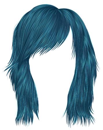 Trendy woman hairs blue color,  medium length, beauty style. Illustration