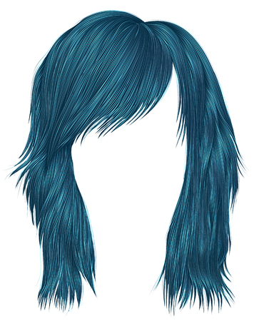 Trendy woman hairs blue color,  medium length, beauty style.