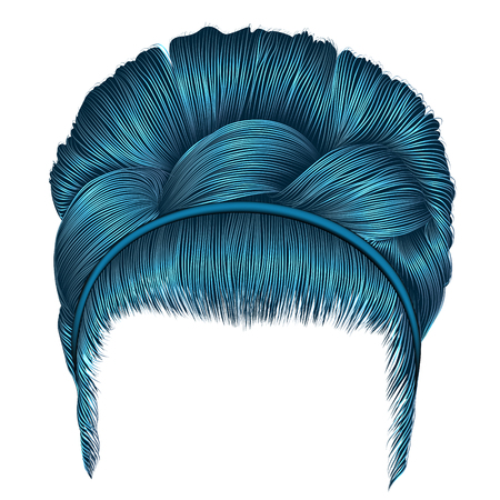 Babette of hairs on pigtail in blue colors. Illustration