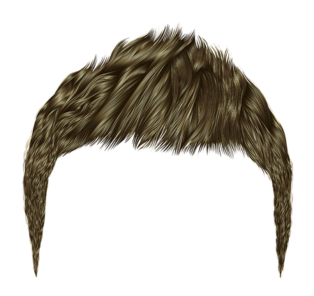 Trendy man hairs brown blond color beauty style realistic 3D. Illustration