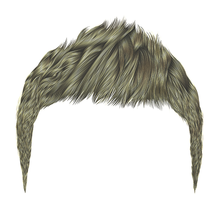 Realistic trendy boy hairstyle.