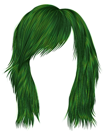 trendy  woman  hairs  green   color . medium length . beauty style . realistic  3d .