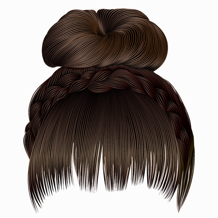 Bun with plait and fringe.  hairs brown light colors .  women fashion beauty style .