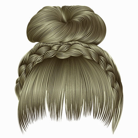 A bun with plait and fringe hairs blond light colors .