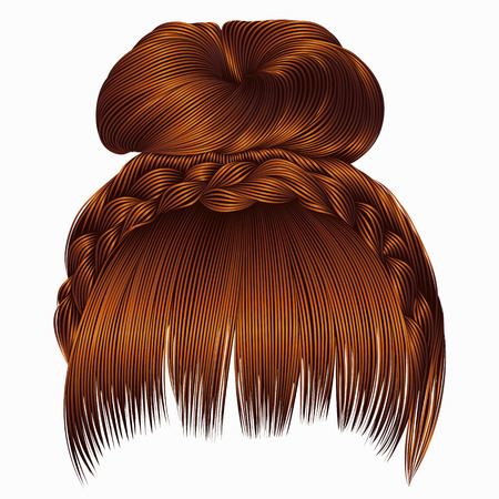 Illustration of a bun with plait and fringe.  hairs.