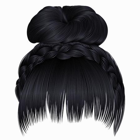 bun with plait and fringe.  hairs brunette black colors .  women fashion beauty style .