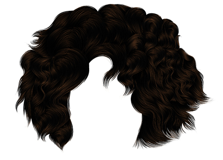 trendy woman curly hairs brown brunette colors .fringe. fashion beauty style.realistic 3d . Illustration