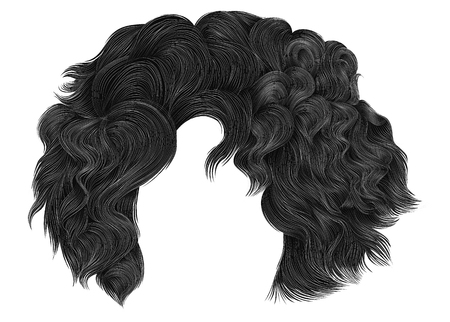 Trendy woman short  hairs brunette gray colors . Fringe. Fashion beauty style. Realistic 3d . Illustration