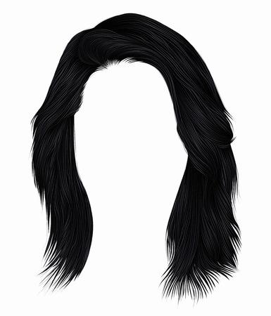 Trendy woman hairs brunette black color .  medium length. Beauty style. Realistic 3d. Illustration
