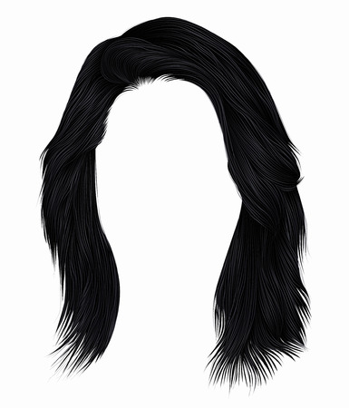 Trendy woman hairs brunette black color .  medium length. Beauty style. Realistic 3d. Banco de Imagens - 104609343