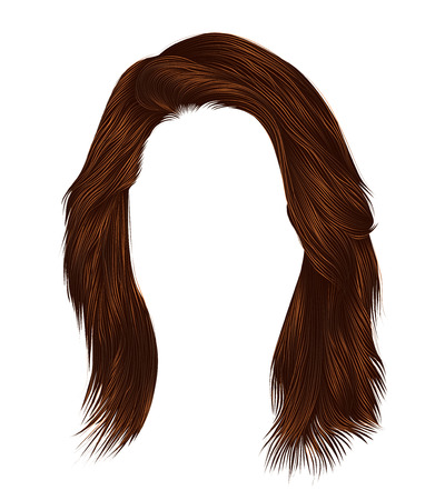 Trendy woman hairs kare with fringe. Red ginger redhead ginger colors. Medium length. Beauty style. Realistic 3d. Brunette .
