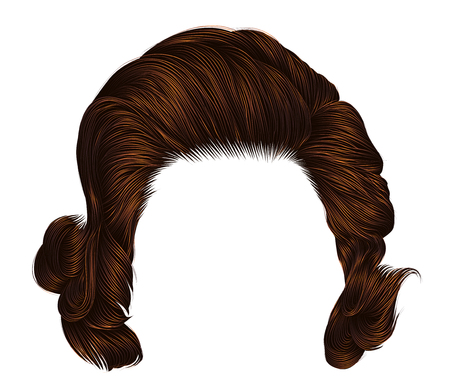 Trendy woman curly ginger color. Medium length. Beauty style. Realistic 3d.