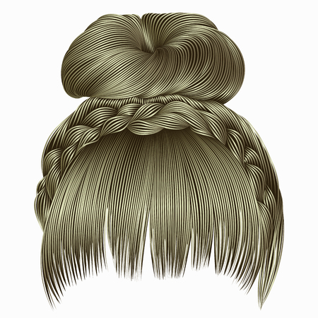 bun with plait and fringe. hairs blond light colors . women fashion beauty style .