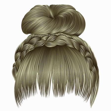 bun with plait and fringe.  hairs blond light colors .  women fashion beauty style . Illusztráció