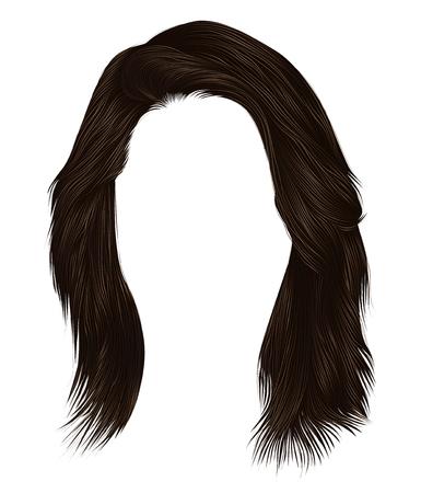 trendy  woman  hairs  dark  brown   color . medium length . beauty style . realistic  3d .