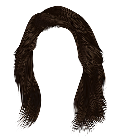trendy woman hairs dark brown color . medium length . beauty style . realistic 3d .