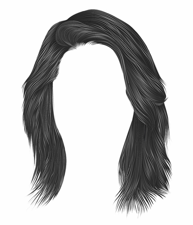 trendy  woman  hairs  gray   color . medium length . beauty style . realistic  3d .