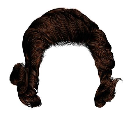 trendy  woman curlybrunette brown. color . medium length . beauty style . realistic  3d . Banco de Imagens - 106915742
