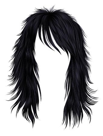 trendy woman long hairs brunette black  colors .  beauty fashion .   realistic 3d Illustration