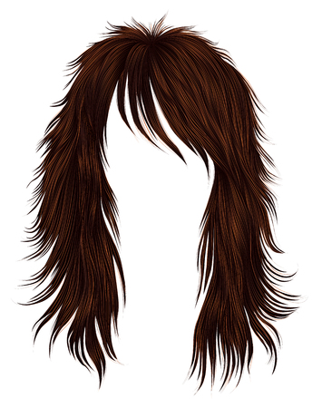 trendy woman long hairs red  colors . beauty fashion .  realistic 3d Illustration