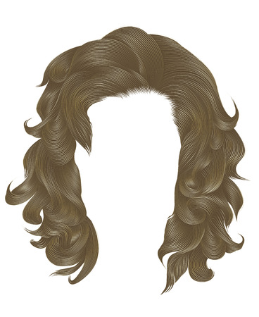 trendy  woman curly hairs blond color . medium length . beauty style . realistic  3d . Illustration