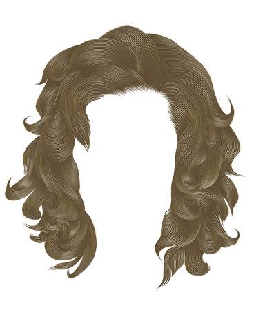 trendy  woman curly hairs blond color .  medium length . beauty style . realistic  3d . Ilustração
