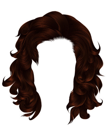 trendy  woman curly hairs brown color . medium length . beauty s