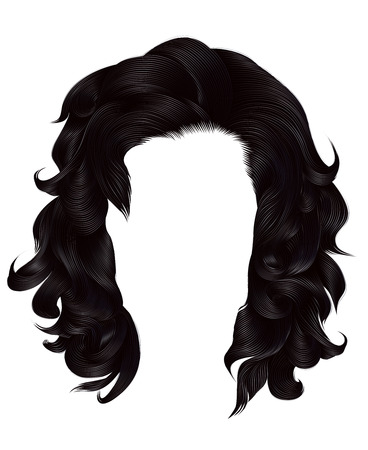 trendy woman long hairs blackbrunette, colors. beauty fashion. realistic graphic 3d
