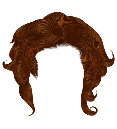 trendy  woman curlyginger color . medium length . beauty style . Ilustração