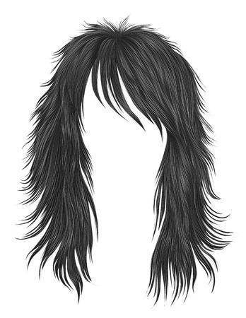 trendy woman long hairs gray colors .  beauty fashion .  realis