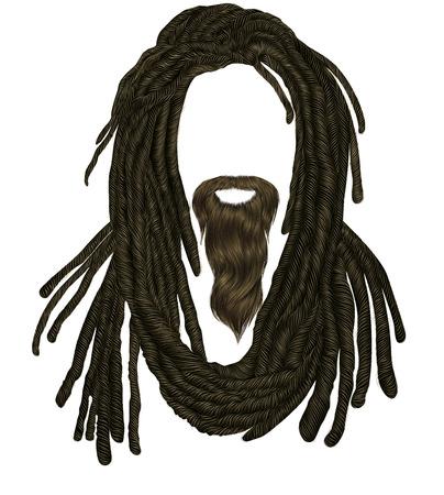 Indian sadhu hairstyle With beard.Hair dreadlocks.funny avatar. Stock Vector - 122927458