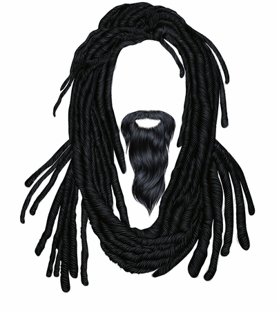 Indian sadhu hairstyle With beard.Hair dreadlocks..funny avatar. Stock Vector - 122927460