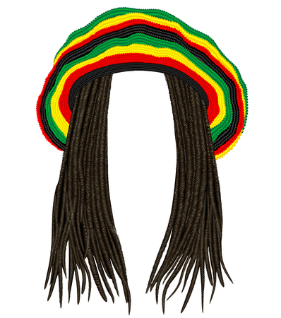 Chapeau rasta jamaïcain. Cheveux dreadlocks.reggae. Avatar drôle