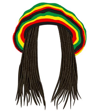 Jamaikanischer Rasta Hut.Haar Dreadlocks.Reggae.lustiger Avatar