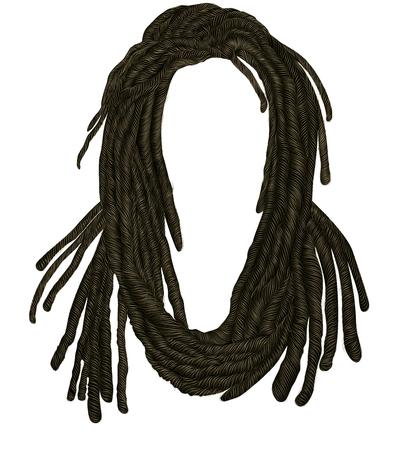Indian sadhu hairstyle With beard.Hair dreadlocks.funny avatar. Stock Vector - 122882927